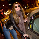 Rachel Uchitel gets into a car in front of her home in New York, Sunday, Nov. 29, 2009. The National Enquirer published a story alleging that golfer Tiger Woods, who was involved in a car ac …