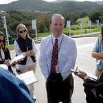 Greg McLaughlin, Tiger Woods Foundation president and CEO, talks to reporters at Sherwood Country Club in Thousand Oaks, Calif., on Tuesday, Dec. 1, 2009. Facing public scrutiny over a car c …