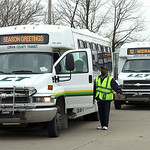 2dec09 bishop— Buses lined up at the transfer point on West River Rd in Elyria behind Educational Alternatives