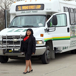 2dec09 bishop— Susan Lilly walks to her next bus on the way home. She is at the stop on West River Rd. behind Educational Alternatives. Lilly of Lorain is one of the Lorain County Transit  …