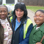 Driver Teresa Schmidt, center, has been giving the phone number for Lorain County commissioners to transit riders,  Brenda Milton, left, and daughter Treasure, 9, of Elyria. Cindy Leise phot …
