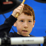 Brennan Meadows, a fourth grader at Windsor Elementary, plays a drum solo in the qualifiying round of the Windsor Talent Show, sponsored by the Windsor PTA, at Windsor Elementary on Apr. 14. …