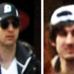 This combo of photos released by the FBI early Friday April 19, 2013, shows what the FBI is calling suspects number 1, left, and suspect number 2, right,  walking through the crowd in Boston …
