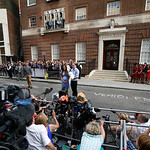 Britain's Prince William and Kate, Duchess of Cambridge hold the Prince of Cambridge, Tuesday July 23, 2013, as they pose for photographers outside St. Mary's Hospital exclusive Lindo Wing i …