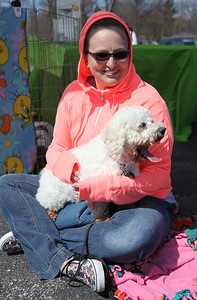 """Ruth Gutschmidt, president of Live Love Rescue and her dog """"Kazoo"""" whom she rescued from a puppy mill at the Love-a-Stray Dog Walk in Avon Lake. photo by Ray Riedel"""