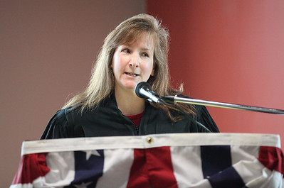 Judge Lisa Swenski delivers her acceptance remarks after swearing-in at El Centro. photo by Ray Riedel