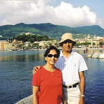 Minal and D.C. Patel in Santa Margherita, Italy, in 2005.