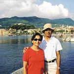 Minal and D.C. Patel in Santa Margherita, Italy, in 2005.