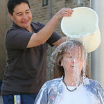 Domestic Relations Judge Lisa Swenski made a $250 donation to the ALS charity and challenged the other Lorain County judges to match her. Dumping the bucket is Diversion Specialist Mildred G …