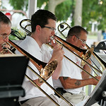 ANNA NORRIS/CHRONICLE Members of the Vermilion Community Music Association Windjammer Big Band perform Sunday evening at Victory Park in Vermilion as the final concert in the park for the su …
