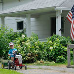 Theodore John Logan, 4, of Henrietta Township, helps his grandmother Agnes McDowell clean up the yard in a miniature pedal tractor at McDowell Orchards on July 26. KRISTIN BAUER | CHRONICLE