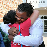 Tracy Sprinkle gets a hug from Elyria teacher Stacie Starr as he leaves court after taking a plea agreement. BRUCE BISHOP/CHRONICLE