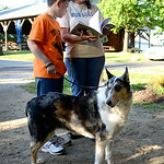 Jimmy Showman, 12, and his mother, Rita Davis, both of Lodi, read a list a requirements Jimmy and Lacy must complete during the dog competitions at the Medina County Fair.  KRISTIN BAUER | C …