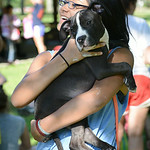 Hannah Schneider, 14, of Hudson, Wis., plays with Leo at a community picnic hosted at Oakwood Park in Lorain on July 24.  KRISTIN BAUER | CHRONICLE