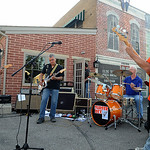 Surfer Rex plays instrumental surf rock at Olde Town Pizza for the Walkin on Wednesdays in Amherst on July 9. STEVE MANHEIM/CHRONICLE