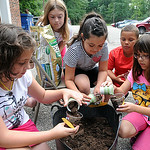 Victoria Jones, left, Kendyl Lynn, Emerson Nazario, Jacob McEntee and Delaney Miller, pour soil into a cup to plant grass seeds at Environmental Science Camp at Finwood Estate in Elyria on J …