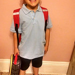 Jeremy is ready for the first day of first grade at Elyria Community School.