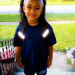 Felina is ready for her first day of first grade.