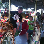 Anthony Campbell, 7, and Jordan Lane, 5, enjoy the rides at the fair.