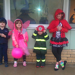 Keegan Smith, 3, Mackenzie Stiteler, 3, Sullivan Smith, 2, and Keira Franklin, 8, are ready to trick-or-treat.