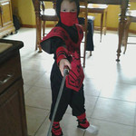 Dragan, 7, is dressed as a Ninja.