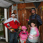 The Domestic Diva Staci; cupcake Kendal, 4; cotton candy Callie, 7; and fisherman Jeff Crabeels are ready for trick-or-treating.