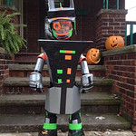Oliver Fekete, 6, shows off his homemade robot costume.