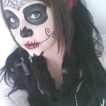 Ashley Willets used eyeshadow and eyeliner to achieve the perfect Halloween look.