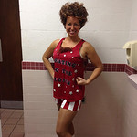 Jami Bzdak, 34, does her best Richard Simmons' impression.