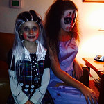 Evangeline Markus, 5, and Hailee Markus, 14, are decked out for Halloween.