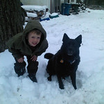 Tyler Burns, 5, and Kahlua are making the best of the weather on Feb. 5.