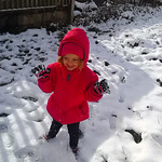 Autumn Newman, 3, plays in the snow on Nov. 12.