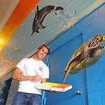 Noah Katrinchak, a senior at Elyria High, painted an aquatic-themed mural at Elyria East pool.  The 30×13 foot mural took three weeks to complete using house paint.  STEVE MANHEIM/CHRONICLE