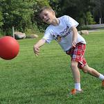 Joseph Deluca, a second-grader at Tennyson Elementary in Sheffield Lake, plays kickball during recess on Sept. 17.  STEVE MANHEIM/CHRONICLE