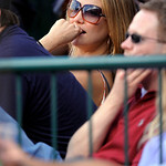Actress Kate Hudson watches Game 3 of the American League Championship baseball series between the New York Yankees and Los Angeles Angels Monday, Oct. 19, 2009, in Anaheim, Calif. (AP Photo …
