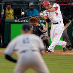 Los Angeles Angels' Jeff Mathis hits a double to score Howie Kendrick to beat the Yankees 5-4 during the eleventh inning of Game 3 of the American League Championship baseball series Monday, …