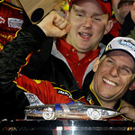 Jamie McMurray celebrates in Victory Lane after winning the Daytona 500 NASCAR auto race at Daytona International Speedway in Daytona Beach, Fla., Sunday, Feb. 14, 2010.(AP Photo/John Raoux)