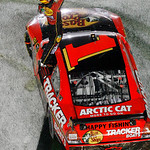 Jamie McMurray celebrates after winning the NASCAR Daytona 500 auto race at Dayton International Speedway in Daytona Beach, Fla., Sunday, Feb. 14, 2010. (AP Photo/Glenn Smith)