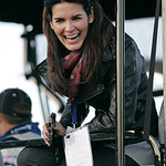Actress Angie Harmon sits in the pit box for Jimmie Johnson's team during the NASCAR Daytona 500 auto race at Daytona International Speedway in Daytona Beach, Fla., Sunday, Feb. 14, 2010. (A …