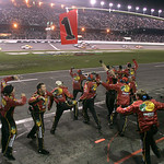Crew members celebrate after driver Jamie McMurray won the NASCAR Daytona 500 auto race at Daytona International Speedway in Daytona Beach, Fla., Sunday, Feb. 14, 2010. (AP Photo/Reinhold Ma …