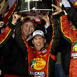 Jamie McMurray, center, celebrates in Victory Lane after winning the Daytona 500 NASCAR auto race at Daytona International Speedway in Daytona Beach, Fla., Sunday, Feb. 14, 2010. (AP Photo/J …