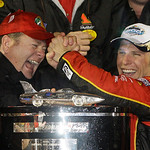 Team owner Chip Ganassi, left, and driver Jamie McMurray celebrate in Victory Lane after McMurray won the Daytona 500 NASCAR auto race at Daytona International Speedway in Daytona Beach, Fla …