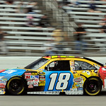 Kyle Busch drives out of turn four during the NASCAR Sprint Cup Series auto race at Texas Motor Speedway on Sunday, Nov. 8, 2009, in Fort Worth, Texas. (AP Photo/Larry Papke)