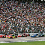 Jeff Gordon (24) and Kasey Kahne (9) lead the pack as the green flag signals the start of the NASCAR Sprint Cup Series auto race at Texas Motor Speedway on Sunday, Nov. 8, 2009, in Fort Wort …