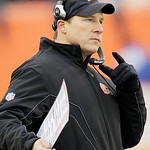 Cleveland Browns head coach Eric Mangini stands on the sidelines in the second half of an NFL football game against the Cincinnati Bengals, Sunday, Dec. 19, 2010, in Cincinnati. Cincinnati w …