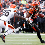 Cincinnati Bengals running back Cedric Benson (32) runs past Cleveland Browns safety Abram Elam (26) for an 18-yard touchdown in the first half of an NFL football game, Sunday, Dec. 19, 2010 …
