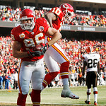 Kansas City Chiefs defensive end Andy Studebaker (96) and wide receiver Terrance Copper (10) celebrate a fumble recovery and touchdown during the first half of an NFL football game against t …