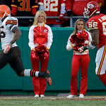 Cleveland Browns running back Jerome Harrison (35) is chased into the end zone by Kansas City Chiefs linebacker Derrick Johnson (56) while scoring the winning touchdown during the fourth qua …