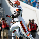 Cleveland Browns safety Abram Elam (26) runs for a touchdown after recovering a fumble by Jacksonville Jaguars running back Maurice Jones-Drew (32) during the second half of an NFL football  …