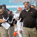 Cleveland Browns head coach Eric Mangini, left, and defensive coordinator Rob Ryan react on the sideline after giving up a 75-yard run by Jacksonville Jaguars running back Maurice Jones-Drew …